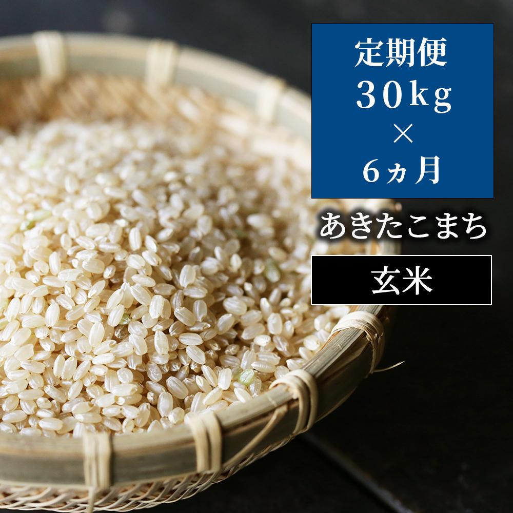 W45定期便 あわくら源流米 あきたこまち玄米30kg×6回