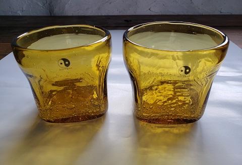 1107.川湯温泉ユノハナガラス 角型ロックグラス2個