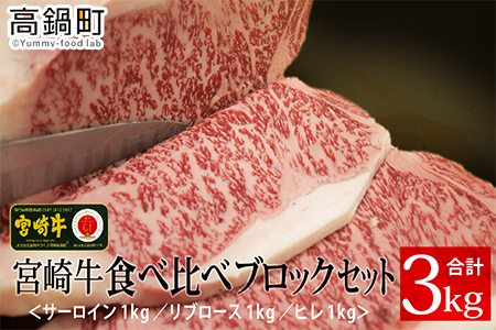 <宮崎牛食べ比べブロックセット(ヒレ・サーロイン・リブロース)>3か月以内に順次出荷【c713_tf】