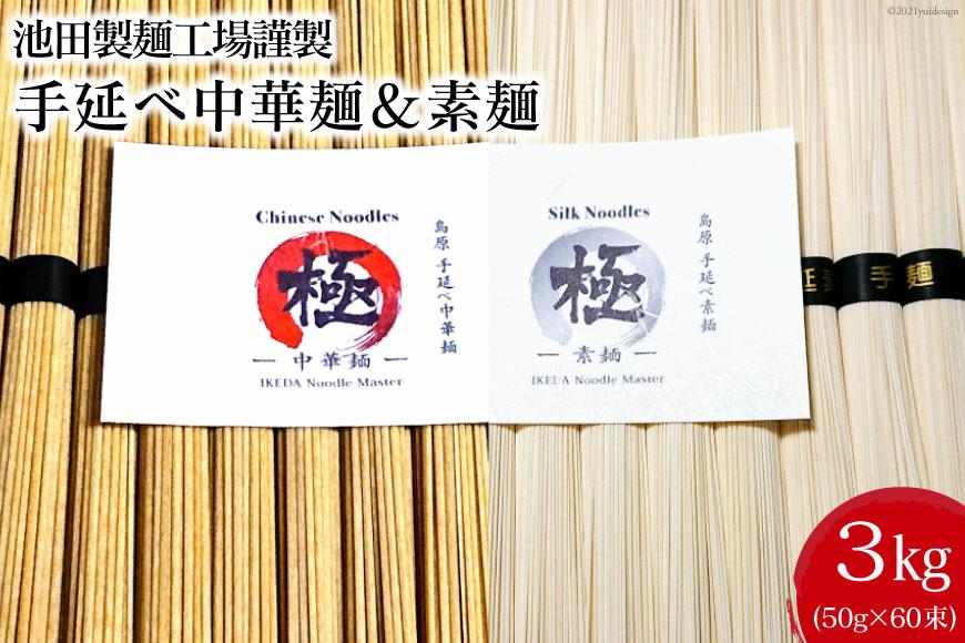 池田製麺工場 手延べ中華麺&素麺 3kg(各50g×30束)