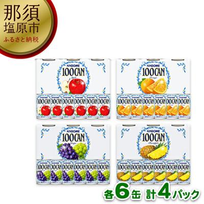 154-1041-13カゴメ100CANジュース詰め合わせ【アップル・オレンジ・グレープ・パインアップル】6缶 4パック