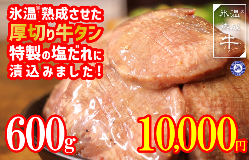 010B760 氷温(R)熟成牛 特製塩だれ漬込み厚切り牛タン(600g)