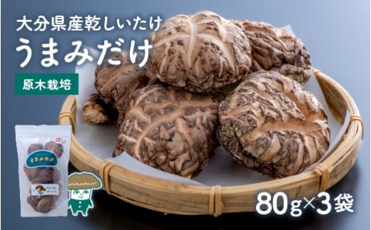 B3-19 乾しシイタケ(80g×3袋)品種:ゆう次郎【大分県新ブランドうまみだけ】