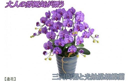 綺麗で丈夫な三河陶器で贈る 光触媒胡蝶蘭(ナイルブルーの陶器×紫色の花) H100-004