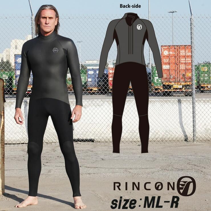 23-0023 ウエットスーツ RINCON 5/3mm起毛  BACK-ZIP フルスーツ WINTER仕様 ML-Rサイズ