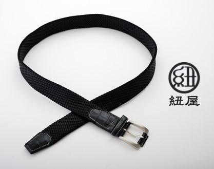 [P044] 組紐ベルト「CLVER」クロコメッシュ(35mm×105cm) 黒