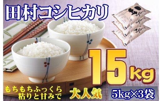 TB8-9【令和2年産】 田村産コシヒカリ15㎏(5㎏×3袋)