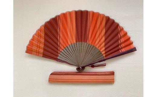 D307途絶えた伝統復活!甲斐絹扇子 橙(7寸25間)