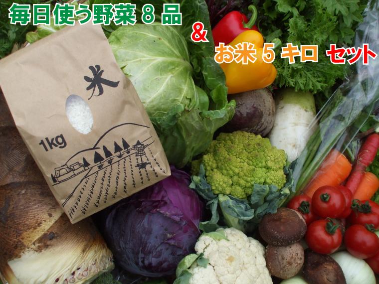 BG158_毎日使う野菜8品とお米5キロ(精米ヒノヒカリ)