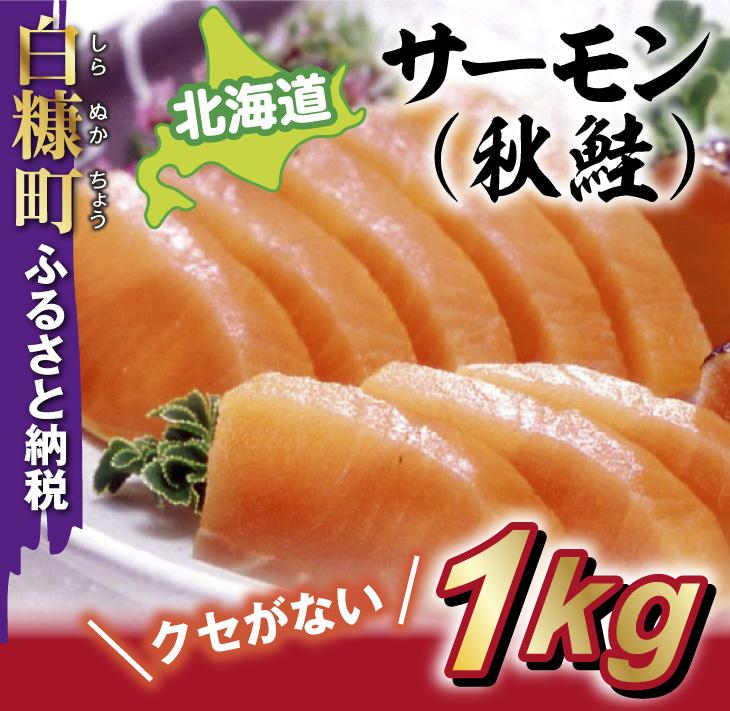 北海道サーモン(秋鮭)【1kg】ルイベ、カルパッ チョ、お刺身等、用途は色々
