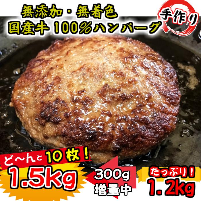 010B497 【期間限定】増量中!国産牛肉100%ビーフハンバーグステーキ!1.5kg