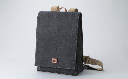 【J-128】kii工房 かぶせ型リュック(先染め黒) [高島屋選定品]