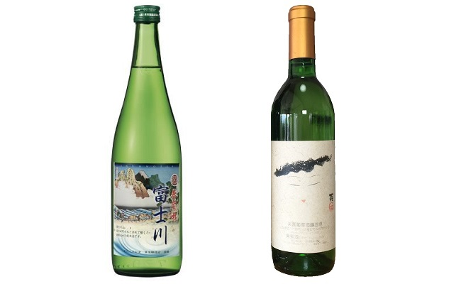 B9907峡南2町共通返礼品 日本酒純米酒(富士川)・ワイン(楽園ワイン白)セット