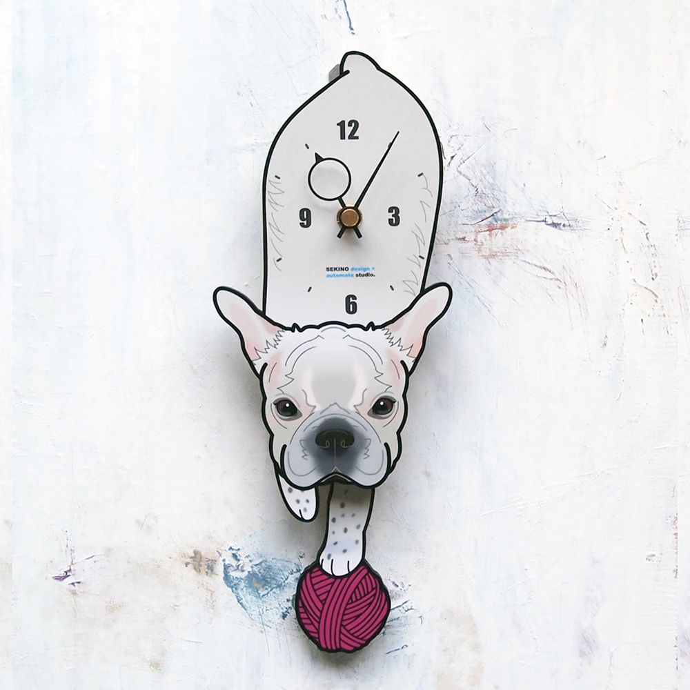 <D-58 白ブルドッグ-犬の振り子時計>