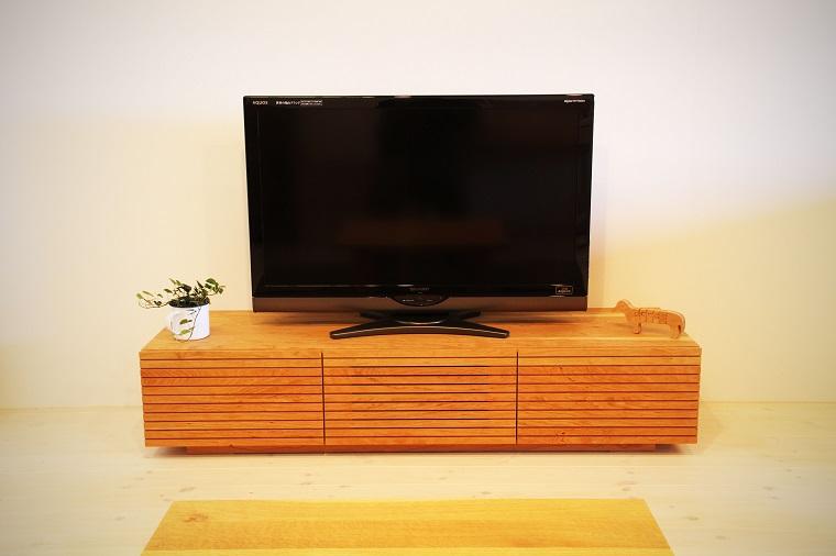 EL110_ 風雅  無垢材テレビボード  テレビ台  W1500【開梱設置付き】ブラックチェリー  スリット[SK110]