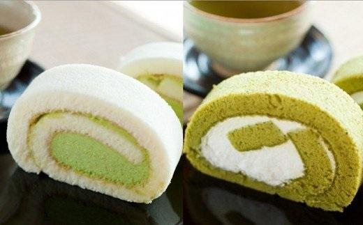 K1643 【特製抹茶使用】茶の実ロールケーキ2本セット (粉末緑茶ボトル付き)