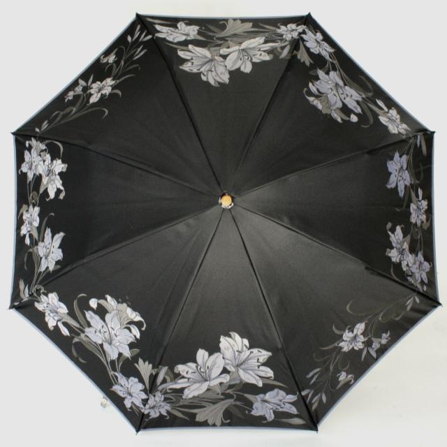 晴雨兼用折傘 絵おり 百合 クロ