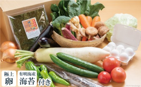AD024直売所店長おすすめの野菜セット(極上卵、有明海産海苔付き)