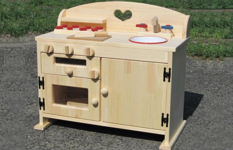 099H233 手作り木製ままごとキッチン魚焼きグリルの付いたGHK