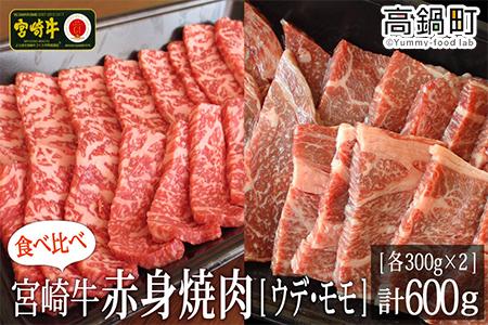 <宮崎牛赤身焼肉600g(300g×2)>3か月以内に順次出荷【c717_tf】