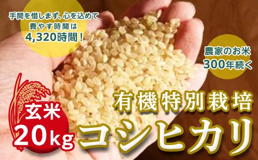 <令和2年産新米>三百年続く農家の有機特別栽培コシヒカリ(【玄米】20kg)