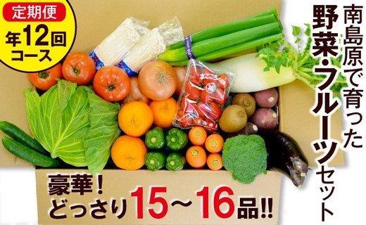 豪華!野菜セット定期便 年12回【毎月コース】 旬の野菜・フルーツ・キノコを15~16品目 盛り合わせ!