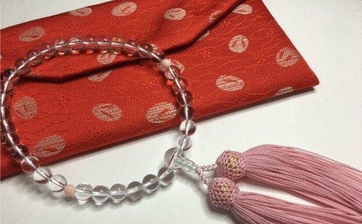 KN017水晶とピンク珊瑚の数珠