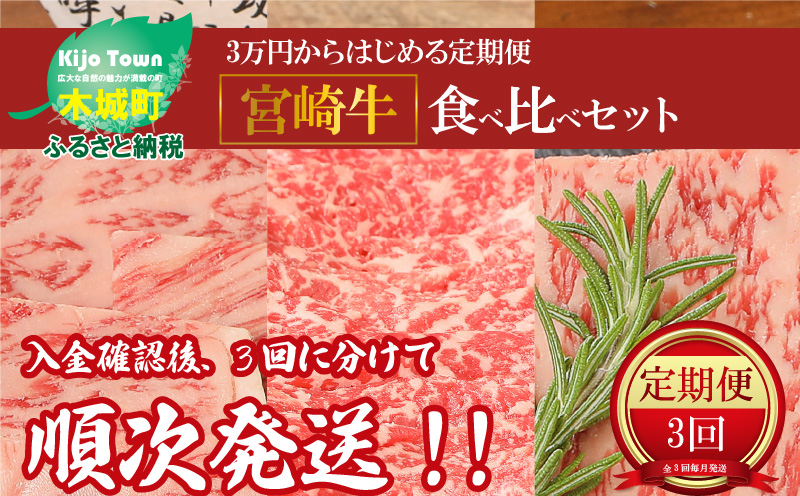 K01_1101 <3万円からはじめる定期便 宮崎牛食べ比べセット(3回コース・満足)>