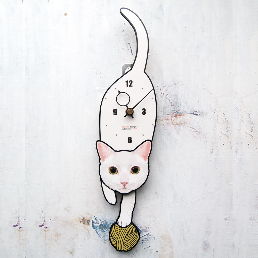 <C-63 白猫(黄目)-猫の振り子時計>