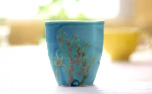 【沖縄陶器】沖縄の海の珊瑚のフリーカップ(スカイブルー)