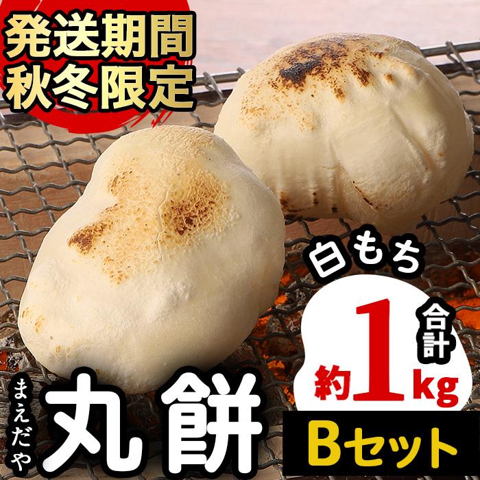 【08581】<Bセット(白もち)>まえだやの丸餅(合計20個・計約1kg)【前田肥料店】