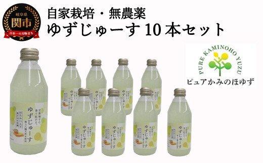 「ゆずの里上之保」ゆずじゅーす10本セット~無農薬の柚子を使った地元で人気のジュース~S10-38