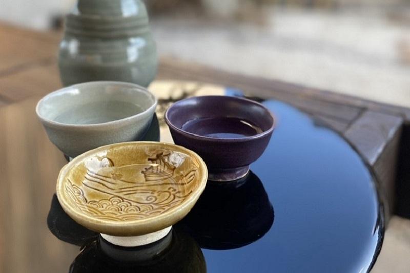 030D045 焼き物「日本遺産 三 盃」(北前船・水なす釉・犬鳴青磁)