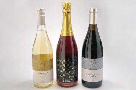 アメリカ系ブドウ赤白ロゼトリオ -キャンベルアーリースパークリング&デラウェア&ブラッククイーン 750ml×各1本-《楠わいなりー》