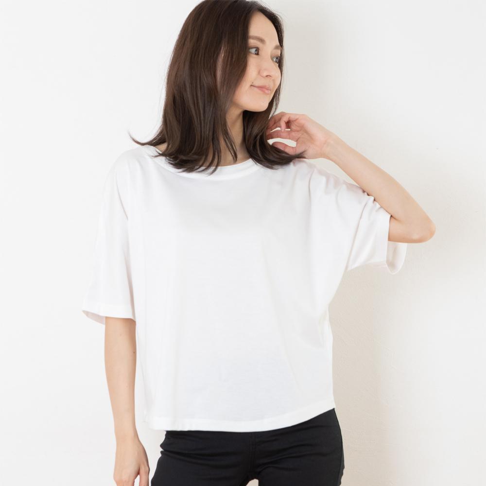 670 ドルマンスリーブシャツ 半袖カットソー  レディース(ホワイト)