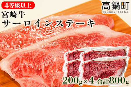 <4等級以上 宮崎牛サーロインステーキ200g×4計800g>翌月末迄に順次出荷【c748_ym】